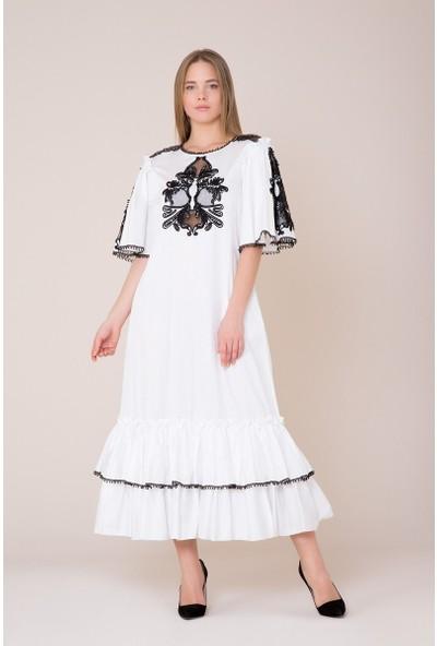 GIZIA Güpür Detaylı Beyaz Elbise