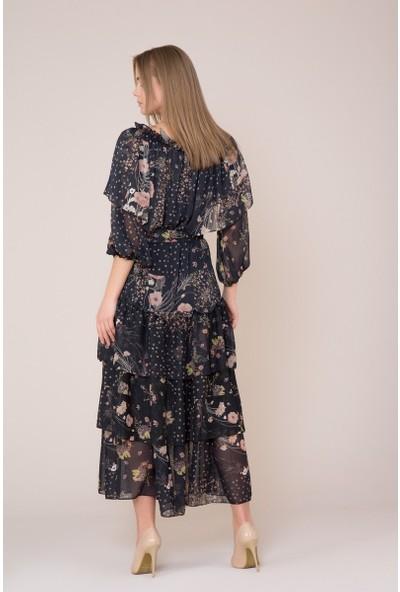 GIZIA Fırfır Ve Kuşak Detaylı Çiçek Desenli Elbise