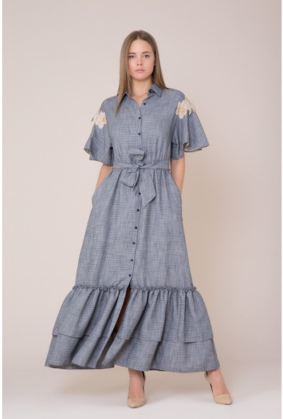 GIZIA Çiçek Nakış Detaylı Lacivert Elbise