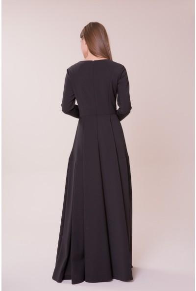 GIZIA Taş Detaylı Siyah Uzun Elbise