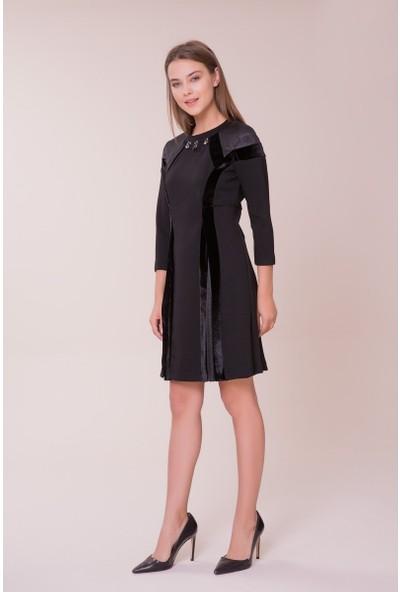 GIZIA Pilise Detaylı Siyah Elbise