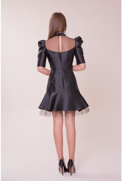 GIZIA Tül Detaylı Siyah Mini Elbise