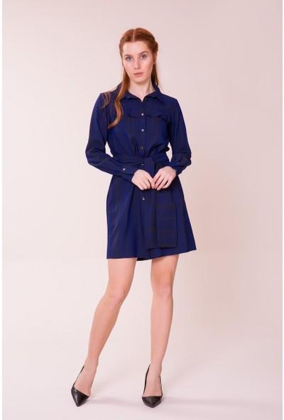 GIZIA Lacivert Gömlek Elbise