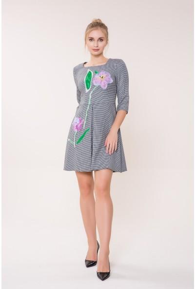 GIZIA Çiçek Detaylı Mini Elbise