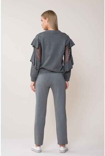 GIZIA Volan Tül Detaylı Gri Sweatshirt