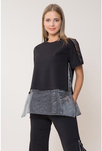 GIZIA Tül Detaylı Siyah Sweatshirt