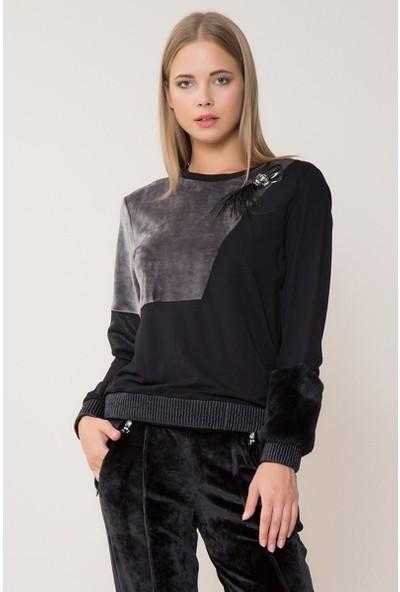 GIZIA Bilek Detaylı Taşlı Sweatshirt