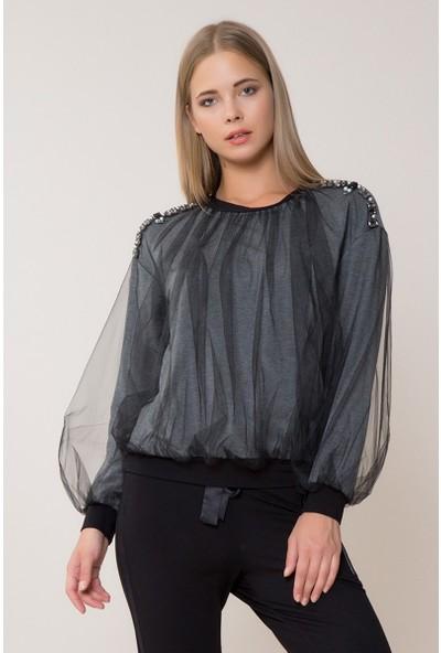 GIZIA Taş Ve Tül Detaylı Sweatshirt