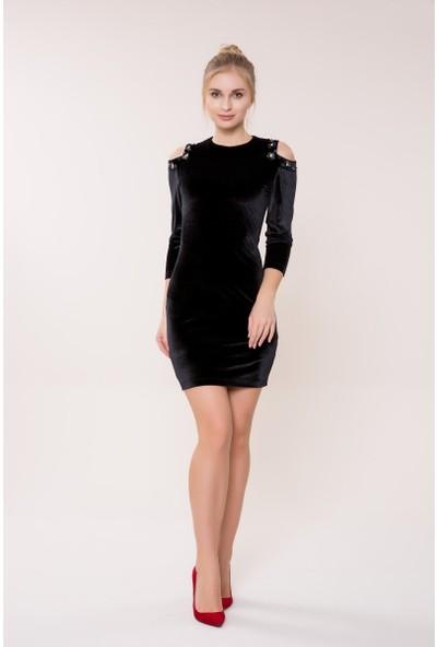 GIZIA Omuz Detaylı Siyah Kadife Elbise