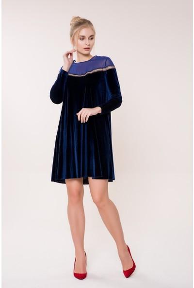 GIZIA Sıra Taş Detaylı Lacivert Elbise