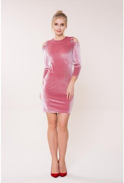 GIZIA Omuz Detaylı Pembe Kadife Elbise