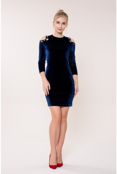 GIZIA Omuz Detaylı Lacivert Kadife Elbise
