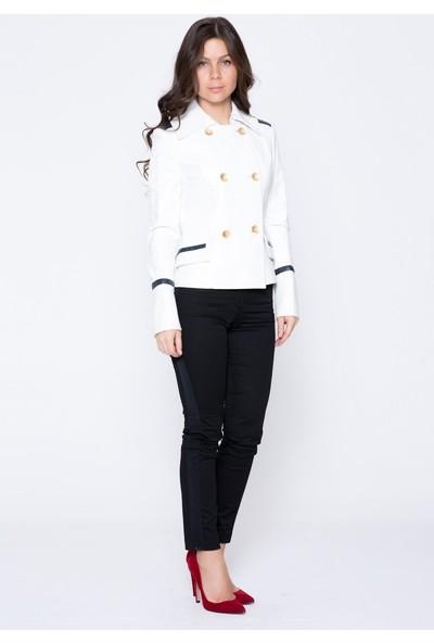 GIZIA Beyaz Lacivert Garnili Deri Ceket