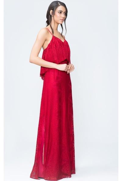 GIZIA İnce Askılı Kırmızı Uzun Elbise