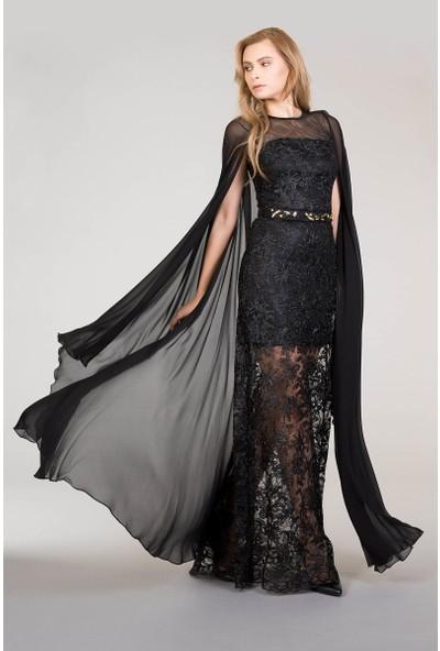 GIZIA Tül Kollu Siyah Dantel Elbise