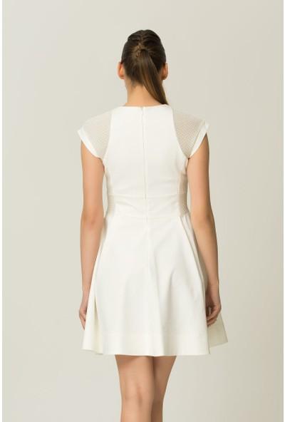 GIZIA Scuba Kumaş Beyaz Kloş Elbise