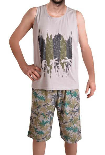 Tom John Erkek Şort Pijama Takımı Geniş Askılı Pamuk