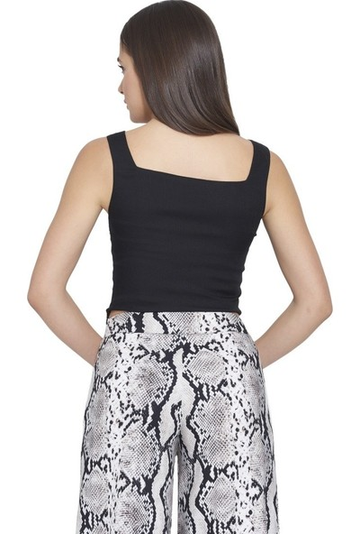 Mousselinn Siyah Kalın Askılı Bluz