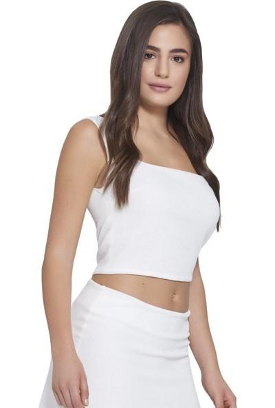 Mousselinn Beyaz Kalın Askılı Bluz