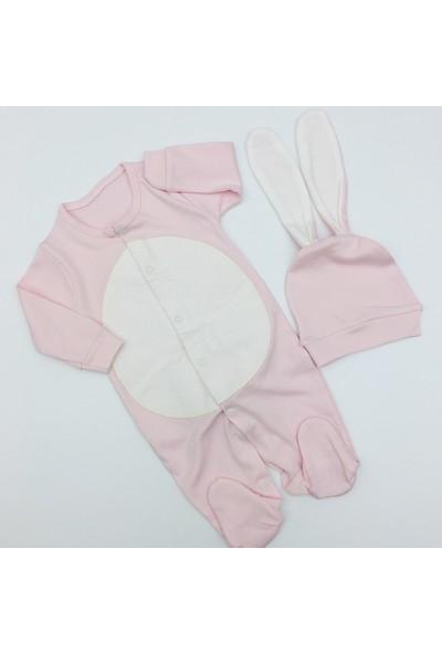 Murat Baby Kız Bebek Tavşan Şapkalı Tulum