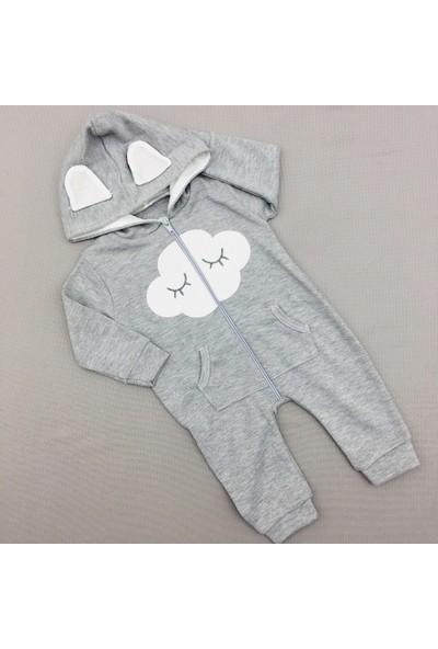 Murat Baby Erkek Bebek Bulutlu Kapşonlu Tulum