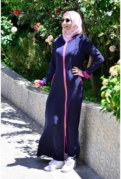 Sanat Giyim Kapüşonlu Fuşya Garni Kadın Ferace
