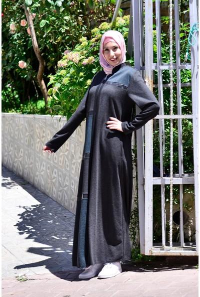Sanat Giyim Kışlık Deri Detaylı Özel Tasarım Kadın Ferace