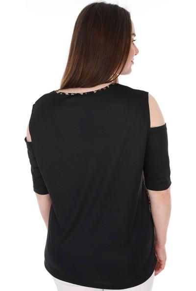 Lir Kadın Leopar Ds. Bluz Siyah