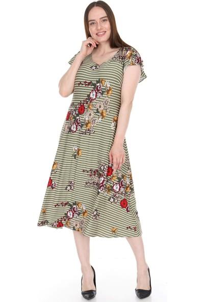 Lir Kadın Çizgili Elbise Haki