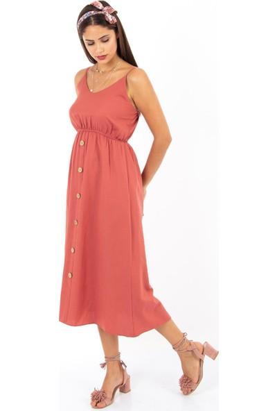 Hds Hadise Askılı Düğmeli Elbise 5272