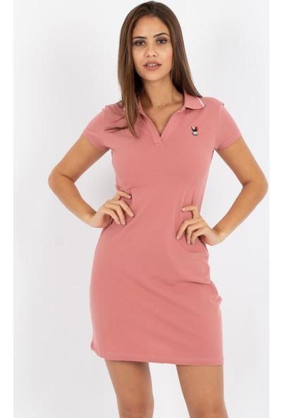 Hds Hadise Yakalı Tavşan Nakışlı Elbise 8009T