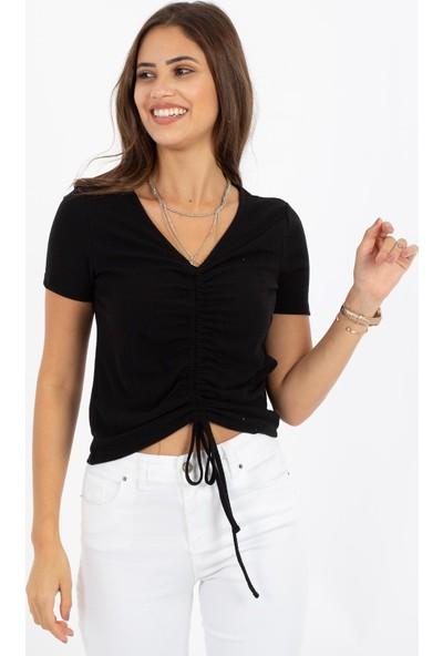 Hds Hadise Büzgülü T-Shirt D4559T
