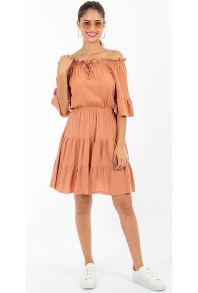 Hds Hadise Beli Lastikli Yakası Bağlamalı Elbise D4602T
