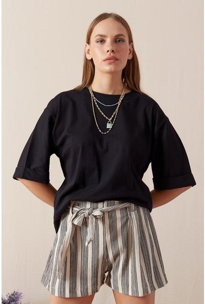 Freestar Kol Katlamalı Geniş Kesim T-shirt-Siyah