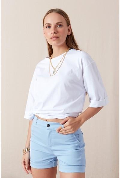 Freestar Kol Katlamalı Geniş Kesim T-shirt-Beyaz