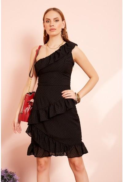 Freestar Tek Omuz Katlı Elbise-Siyah