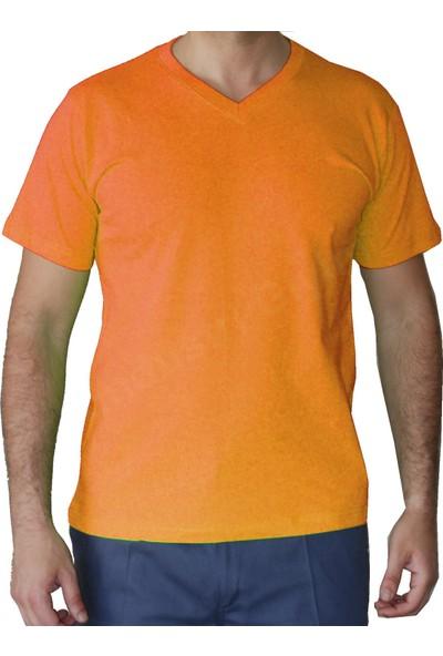 Şensel Tshirt V Yaka - Turuncu V Yaka T-Shirt