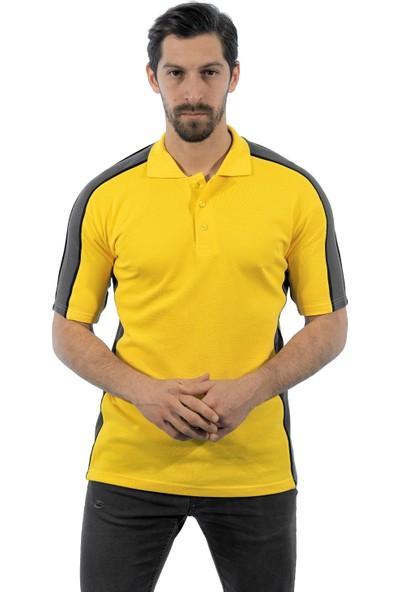Şensel Polo Yaka Sarı - Gri Polo Yaka T-Shirt