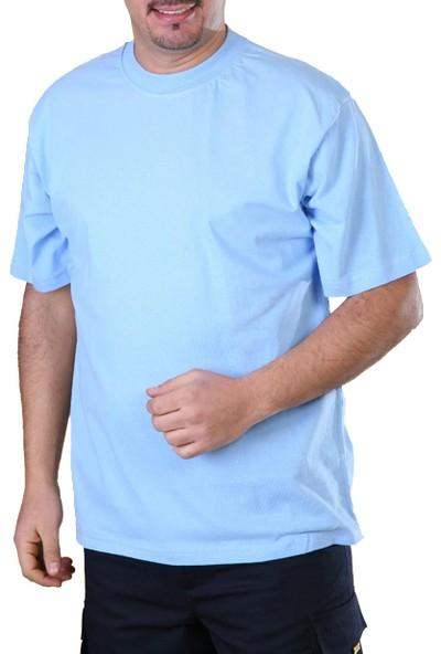 Şensel Sıfır Yaka T-Shirt Açık Mavi Tshirt İş Elbiseleri