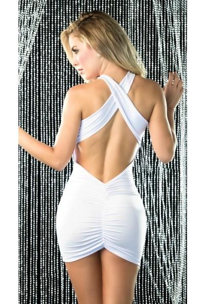 Merry See Sırt Dekolteli Mini Beyaz Ebise