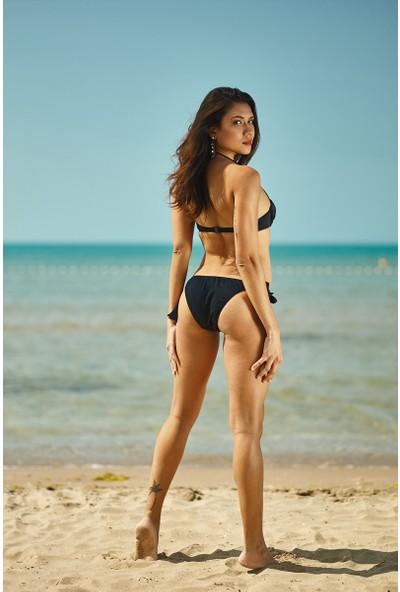 Siyah Boş Kap Bikini Alt Üst Takım