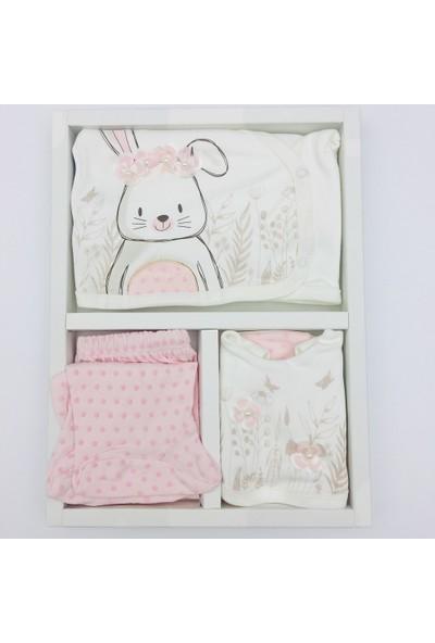 Miniworld Çiçekli Tavşan 5 Parça Zıbın Seti