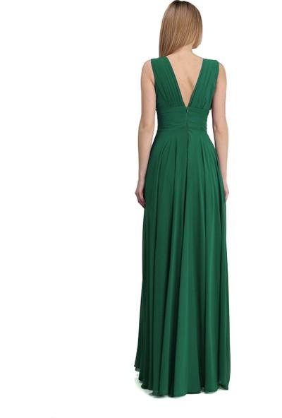 Pierre Cardin Yeşil Şifon V Yaka Uzun Abiye Elbise