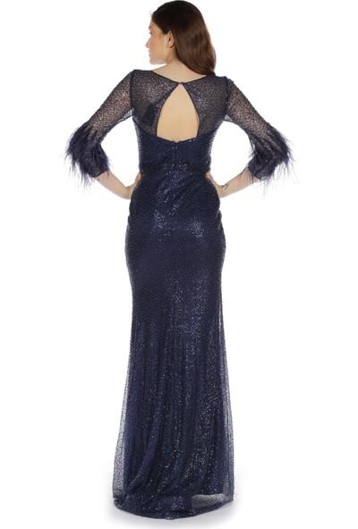 Carmen Lacivert Simli Kolları Tüylü Balık Abiye Elbise
