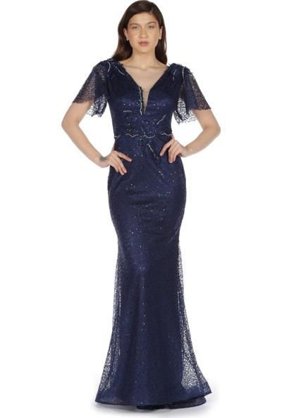 Pierre Cardin Lacivert Yarım Kol Beli İşlemeli Uzun Abiye Elbise