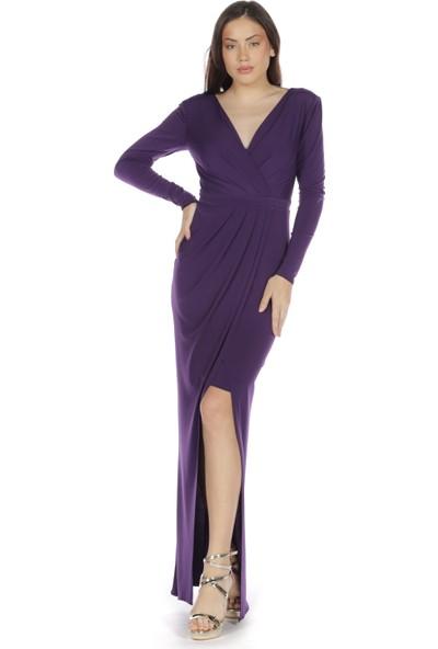 Carmen Mor Sandy Yırtmaçlı Uzun Abiye Elbise