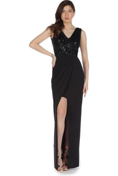 Pierre Cardin Siyah V Yaka Yırtmaçlı Uzun Abiye Elbise