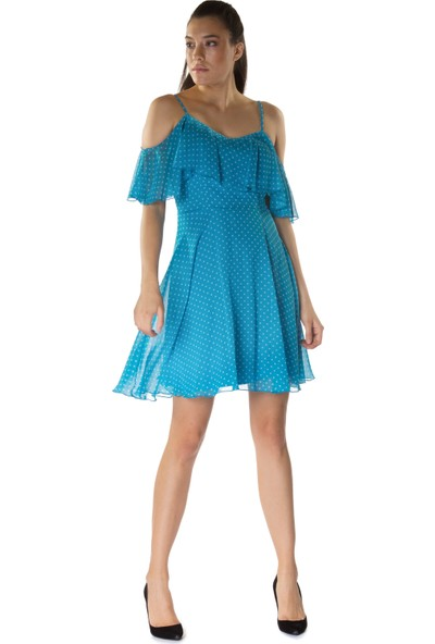 6ixty8ight Puantiye Mavi Volanlı Askılı Kısa Abiye Elbise