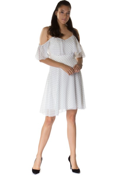 6ixty8ight Puantiye Beyaz Volanlı Askılı Kısa Abiye Elbise