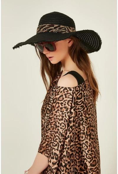 Axesoire 11762 Zebra Şeritli Siyah Hasır Şapka